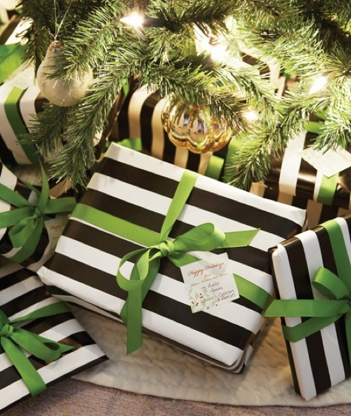 black and white striped gift wrap